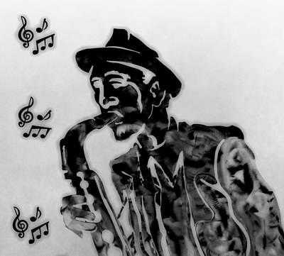 Jazz Band Digital Art - Jazz Saxophone Man by Dan Sproul