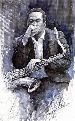 Watercolour Painting - Jazz Saxophonist John Coltrane Black by Yuriy  Shevchuk