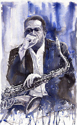 Jazz Saxophonist John Coltrane Blue Original