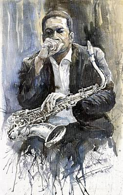 Watercolour Wall Art - Painting - Jazz Saxophonist John Coltrane Yellow by Yuriy Shevchuk