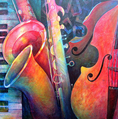 Double Bass Painting - Jazz  by Susanne Clark