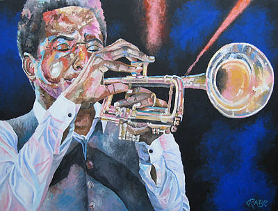 Trumpet Painting - Jazz Trumpet Player by Mike Rabe