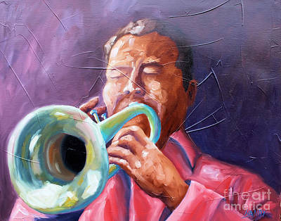 New Orleans Oil Painting - Jazz Trumpet Player by Todd Bandy