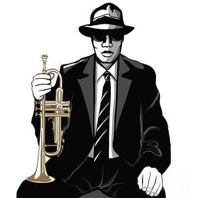Brass Wall Art - Digital Art - Jazz Trumpet Player - Vector by Isaxar
