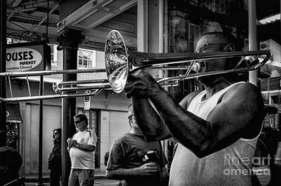 Music Royalty-Free and Rights-Managed Images - Jazzy Trombone Music-bw by Kathleen K Parker