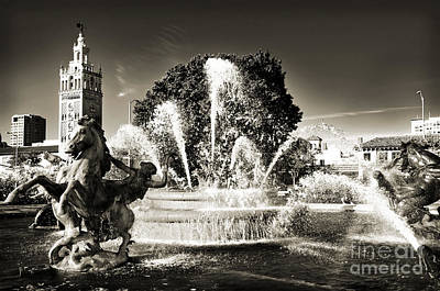 Andee Design Monochrome Photograph - Jc Nichols Memorial Fountain Bw 1 by Andee Design