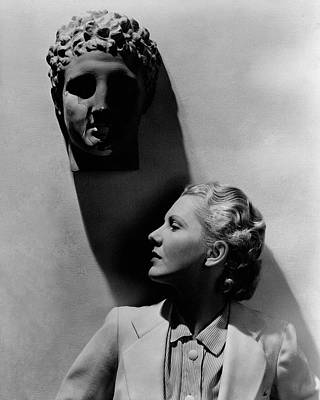 Profile Shadow Photograph - Jean Arthur Under A Bust by Lusha Nelson