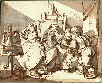 Wash Drawing - Jean-baptiste Greuze, French 1725-1805 by Litz Collection
