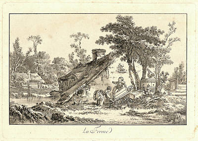 Sepia Ink Drawing - Jean-baptiste Le Prince French, 1734 - 1781. The Farm La by Litz Collection