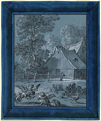 Wash Drawing - Jean-baptiste Oudry, The Partridge And The Cocks, French by Quint Lox