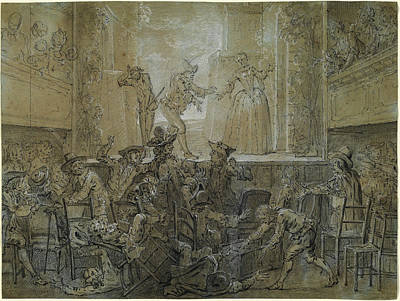 Fade Drawing - Jean-baptiste Oudry, The Scene With The Tall Baguenodière by Quint Lox
