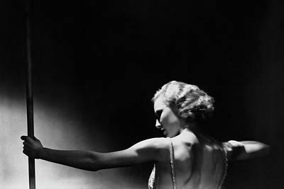 Photograph - Jean Barry Holding A Pole by George Hoyningen-Huene