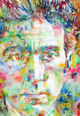 Jean Cocteau Painting - Jean Cocteau - Watercolor Portrait by Fabrizio Cassetta