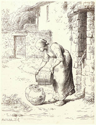 Emptying Drawing - Jean-françois Millet French, 1814 - 1875. Woman Emptying by Litz Collection