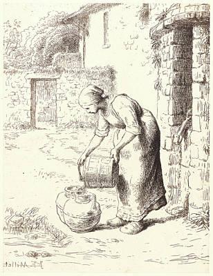 Jean-françois Millet French, 1814 - 1875. Woman Emptying Art Print