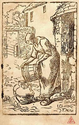 Jean-françois Millet French, 1814 - 1875. Woman Filling Art Print