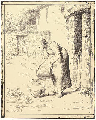 Seau Drawing - Jean-françois Millet French by Litz Collection
