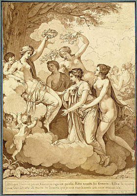 Wash Drawing - Jean François Pierre Peyron, Venus And The Graces Crowning by Quint Lox