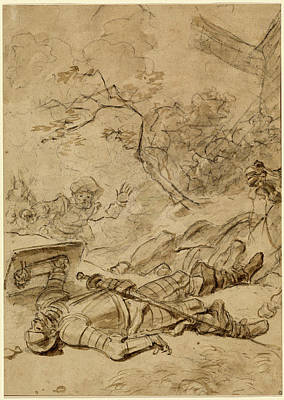 Wash Drawing - Jean-honoré Fragonard, Don Quixote Defeated By The Windmill by Quint Lox