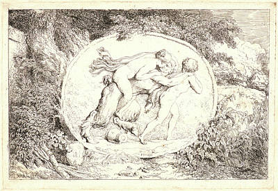 First-family Drawing - Jean-honoré Fragonard French, 1732-1806. The Satyrs Family by Litz Collection