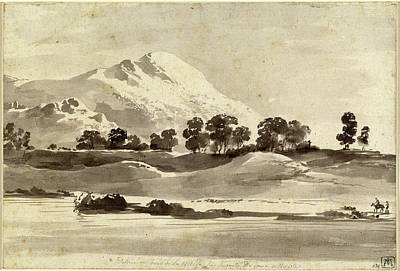 Wash Drawing - Jean-jacques De Boissieu, Mount Cairo From Across The Melfa by Litz Collection