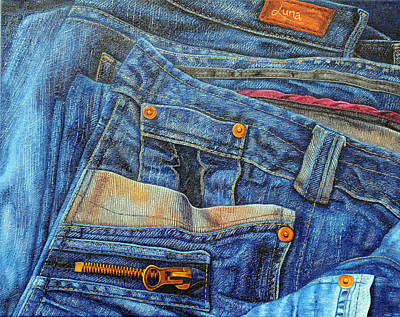 Stitching Painting - Jean Junkie by Luna