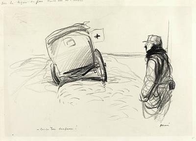 Ligne Drawing - Jean-louis Forain, Sur La Ligne De Feu, French by Litz Collection