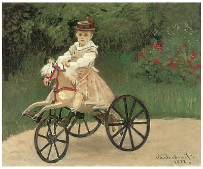 Tricycle Painting - Jean Monet On His Horse Tricycle by Claude Monet