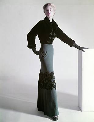 Jean Patchett Wears A Mainbocher Jacket Art Print by Horst P. Horst