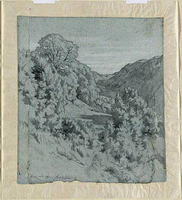 Jean-paul Flandrin, French 1811-1902, Sunlit Trees Art Print
