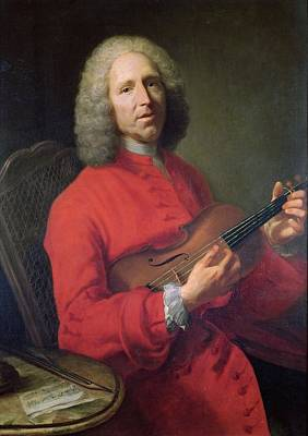 Jean-philippe Rameau 1683-1764 With A Violin Oil On Canvas Art Print by Jacques Andre Joseph Camelot Aved