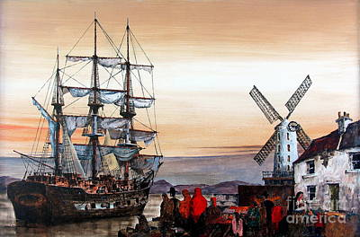 Famine Painting - Jeanie Johnston Famine Ship by Val Byrne