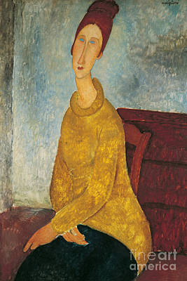 Figurative Painting - Jeanne Hebuterne In Yellow Sweater by Amedeo Modigliani