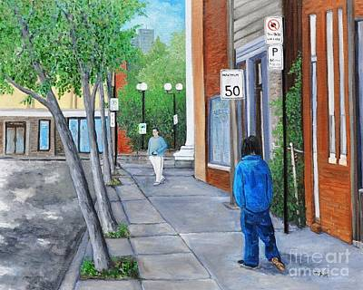 Montreal Buildings Painting - Jeanne Le Ber District  Street Scene by Reb Frost
