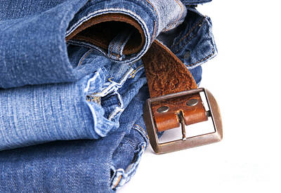 Jeans And Belt Isolated Art Print