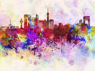 Splatter Digital Art - Jeddah Skyline In Watercolor Background by Pablo Romero