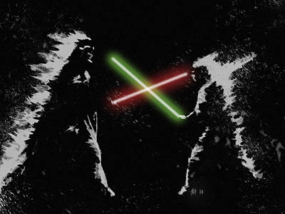 Digital Art - Jedi Duel by George Pedro