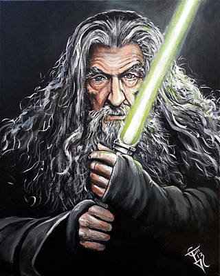 The Hobbit Wall Art - Painting - Jedi Master Gandalf by Tom Carlton