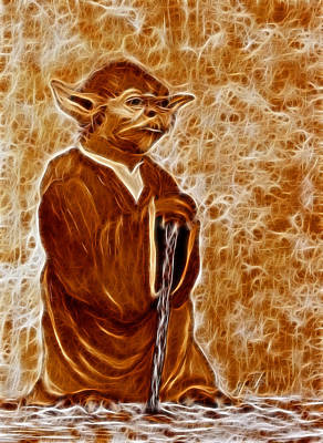 Jedi Master Yoda Digital From Original Coffee Painting Art Print by Georgeta Blanaru