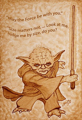 Jedi Yoda Quotes Original Beer Painting Art Print by Georgeta Blanaru
