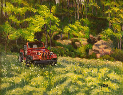 Jeep By The Bluff Art Print by Janet Felts