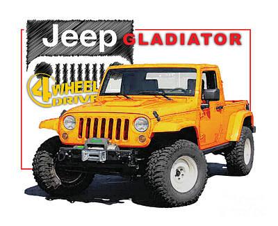 Classic Fiat Digital Art - Jeep Gladiator Truck Concept by Dan Knowler