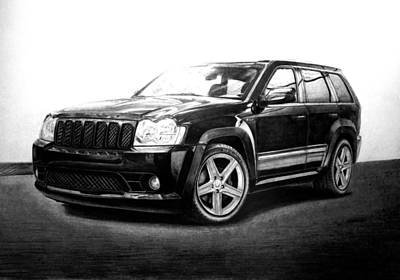 Jeep Drawing - Jeep Srt8 by Gary Reising