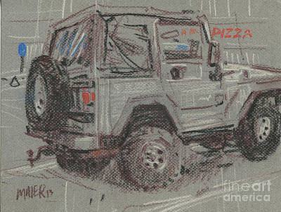 Painting - Jeep With Pizza by Donald Maier