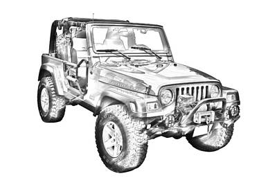 Photograph - Jeep Wrangler Rubicon Illustration by Keith Webber Jr