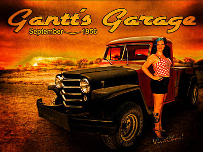 Jeep Photograph - Jeeping Bettie At Gantt's Garage by Chas Sinklier