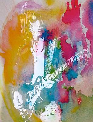 Musicians Mixed Media Rights Managed Images - Jeff Beck Watercolor Royalty-Free Image by Dan Sproul