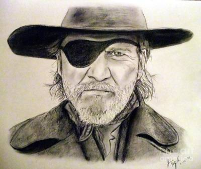 John Wayne Drawings Drawing - Jeff Bridges As U.s. Marshal Rooster Cogburn by Jim Fitzpatrick