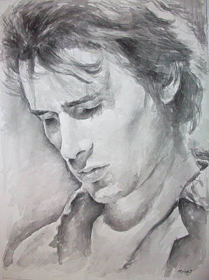 Miles Davis Oil Painting - Jeff Buckley Portrait by Marina Sotiriou