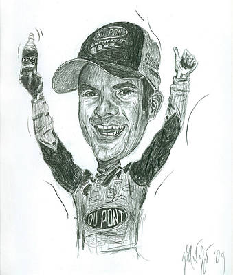 Jeff Gordon Caricature Art Print by Michael Morgan